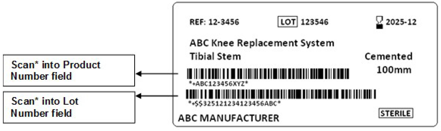 A sample sticker with 2 barcodes that are not identified. The first (top) barcode is for the Product Number field and the second (bottom) barcode is for the Lot Number field