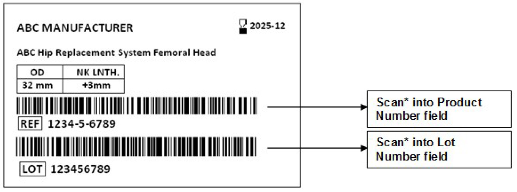 A sample sticker with 2 barcodes that are identified. The first (top) barcode is for the Product Number field and the second (bottom) barcode is for the Lot Number field.